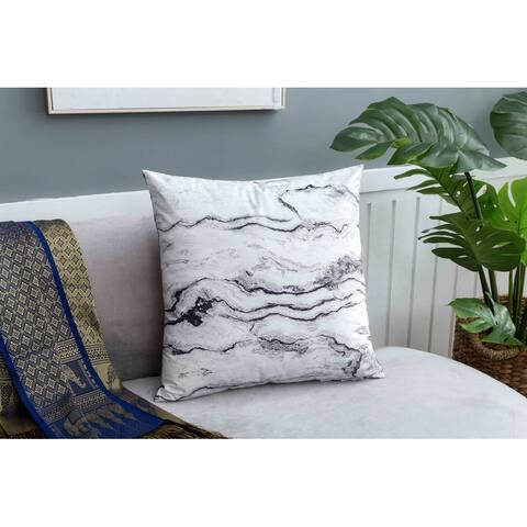 Velvet Print Pillow, Grey Marbled