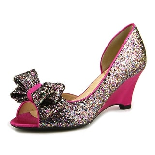 J. Renee Chrissy Women  Open Toe Canvas Pink Wedge Heel