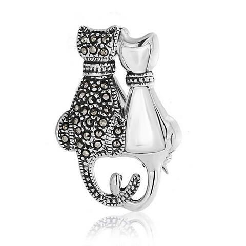 Black Marcasite Sitting Cat Kitten Kitty Brooch Pin Sterling Silver