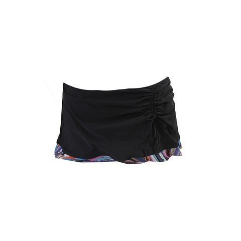 Profile By Gottex Navy Print-Trim Ruched Swim Skirt 10