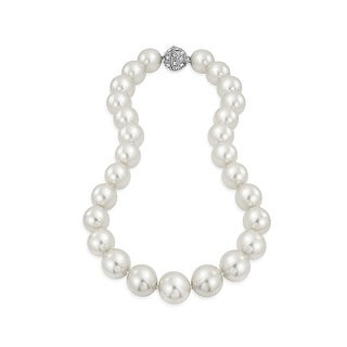 Bling Jewelry Rhodium Plated Imitation White Pearl Bridal Necklace