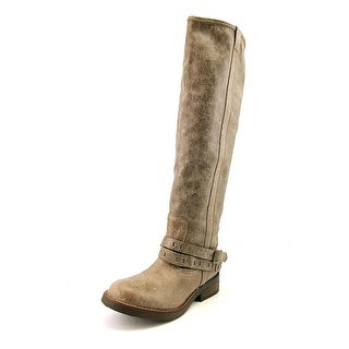 Steve Madden Maddock Women Round Toe Leather Gray Knee High Boot