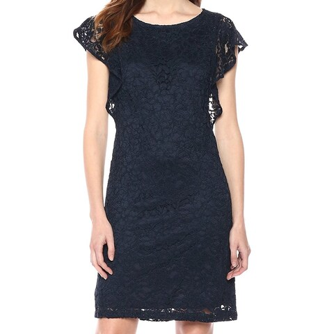 Adrianna Papell Navy Blue Womens Size 2 Floral Lace Sheath Dress