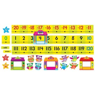 Trend Enterprises Owl-Stars Number Line Bulletin Board Set, -20 to 120