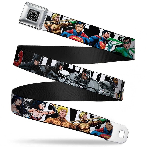 Dc Originals Black Silver New 52 Superhero Poses Justice League Black White Seatbelt Belt