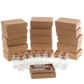 Clear Glass Bottle With Cork 40x22mm And Kraft Brown Jewelry Boxes (16 Pieces Of Each)