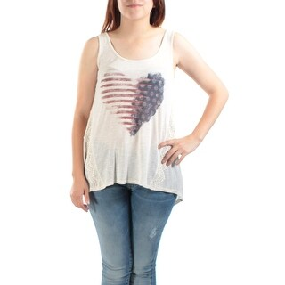Womens Ivory heart with american flag Sleeveless Scoop Neck Casual Hi-Lo Top Size S