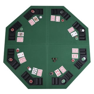 """Link to Costway 48"""" Green Octagon 8 Player Four Fold Folding Poker Table Top & Similar Items in Casino Games"""