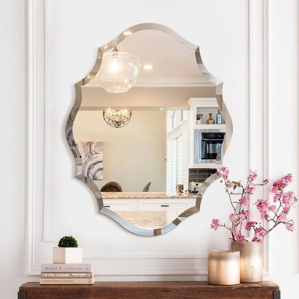 Mirror Trend Beveled Accent Frameless Wall Mirror 22 28 Overstock 29607615