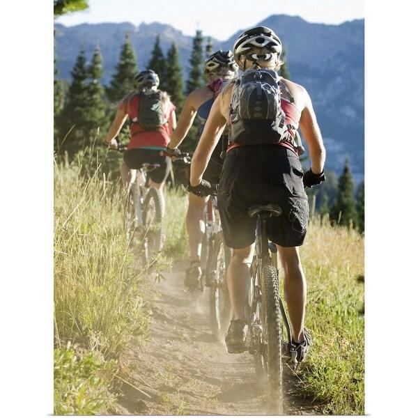 """""""Mountain bikers riding along a trail"""" Poster Print"""