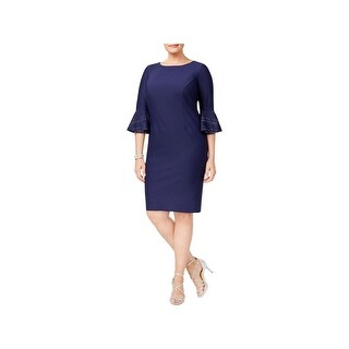 Alex Evenings Womens Party Dress Bell Sleeves Knee-Length