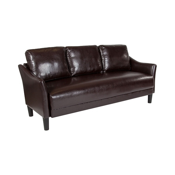 Offex Contemporary Upholstered Brown Leather Sofa Couch