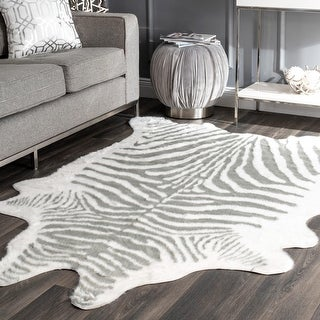 Link to Silver Orchid Bennett Acrylic Faux Zebra Shaped Area Rug Similar Items in Farmhouse Rugs