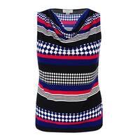 Tahari Women's Petites Sleeveless Cowl Neck Blouse - black/royal/red - pxl