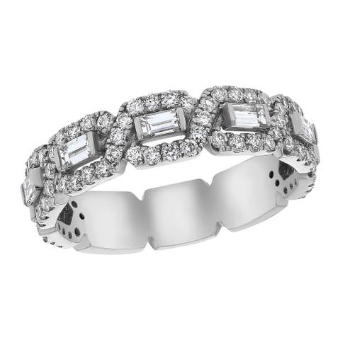 14k White Gold 1ct TDW Baguette and Round Diamonds Wedding Band Ring by Beverly Hills Charm