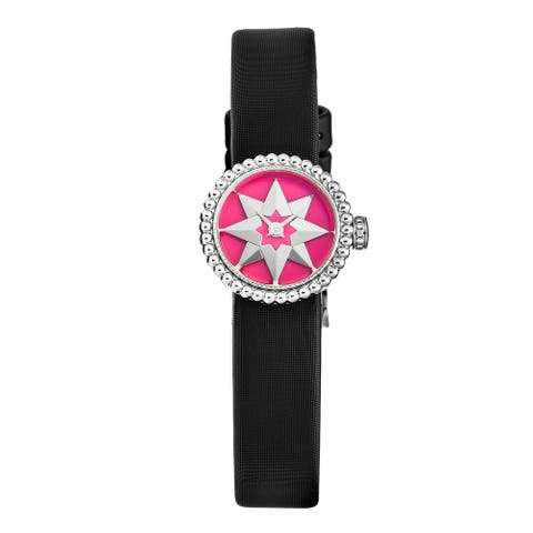 Christian dior women's cd040112a005 'la d de dior mini' pink lacquer dial satin strap swiss quartz watch