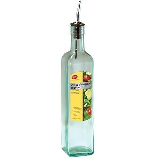 Tablecraft H916 Oil and Vinagar Bottle, Glass and Steel, Clear, 16 Oz