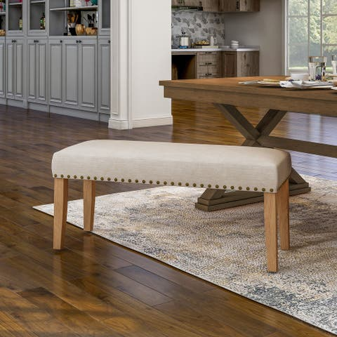Furniture of America Coro Transitional Ivory Fabric Dining Bench