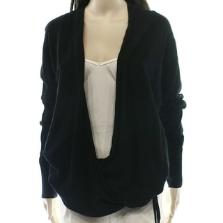 VALETTE NEW Black Women's Size Small S Solid Drape Cardigan Sweater