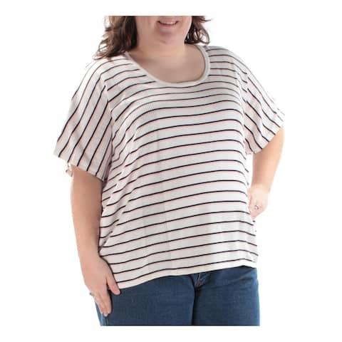TOMMY HILFIGER Womens Ivory Striped Jewel Neck Sweater Size 2X