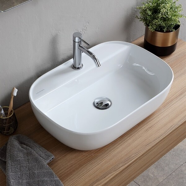 "Nameeks Scarabeo 1802 Scarabeo Glam 23"" Rectangular Ceramic Vessel Bathroom Sink - White / One Hole"