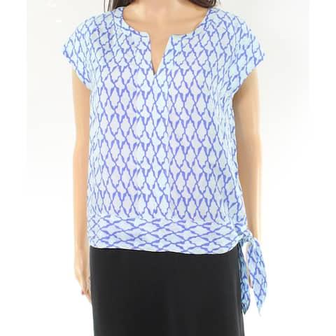 Vineyard Vines Women's Blouse Blue Size 8 Side-Tie Printed Split-Neck