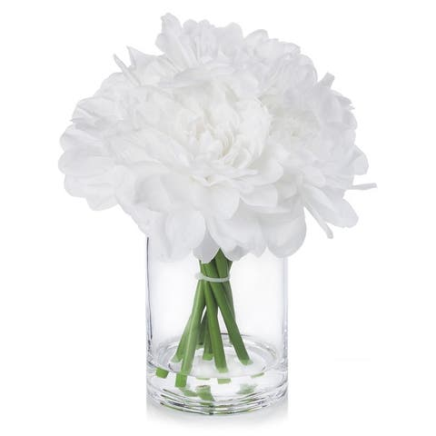 Enova Home Silk Dahlia Arrangement in Clear Glass Vase With Faux Water For Home Decoration