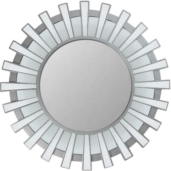 """25.5"""" Sunburst Matte Silver Round Wall Mirror by Generic"""