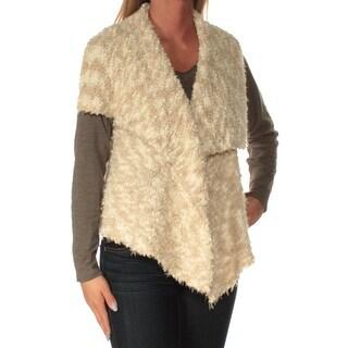 Womens Beige Sleeveless Open Cardigan Sweater Size S