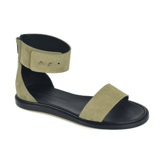 Women By Common Projects Olive Green Suede Zip Ankle Strap Sandals