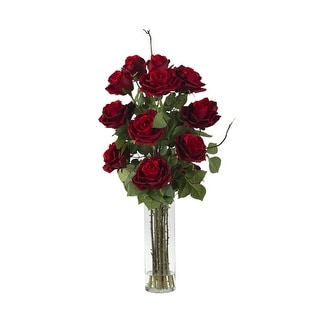 Nearly Natural Roses with Cylinder Vase Silk Flower Arrangement - Red