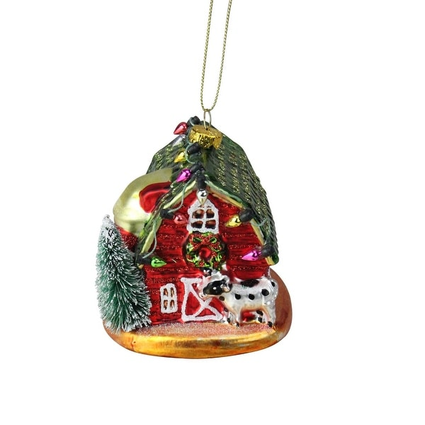 """3.5"""" Festive Glittered Dairy Barn with Christmas Lights Glass Holiday Ornament - RED"""