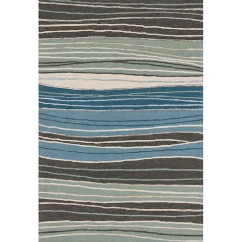 Alexander Home Carolyn Modern Wave Hand-Hooked Wool Rug
