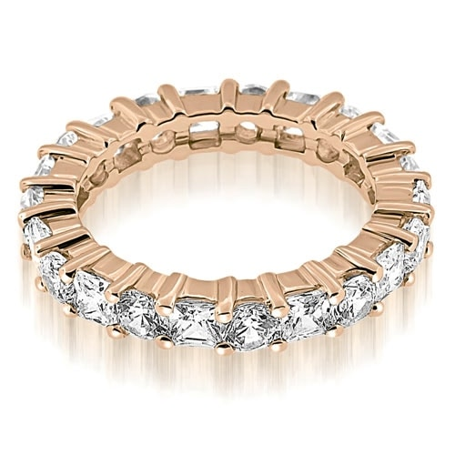 3.50 cttw. 14K Rose Gold Basket Round and Princess Diamond Eternity Band Ring