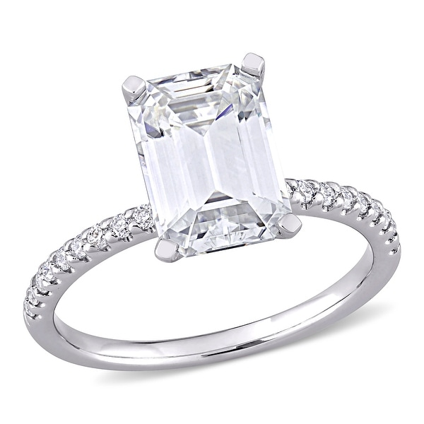 Miadora 3 1/5ct DEW Emerald-cut Moissanite Engagement Ring in 10k White Gold. Opens flyout.
