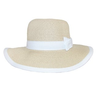 CTM® Girls' Sun Hat with Bow and Edge Trim