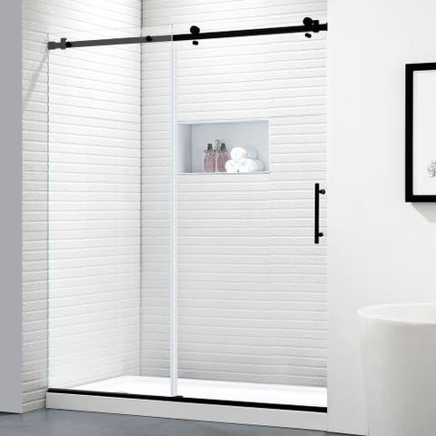"FELYL 56-60"" W × 76"" H Single Sliding Frameless Shower Door with Heat Soaking Process and Protective Coating Clear Glass"