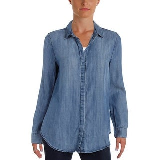 Aqua Womens Button-Down Top Back Button Down Chambray - m