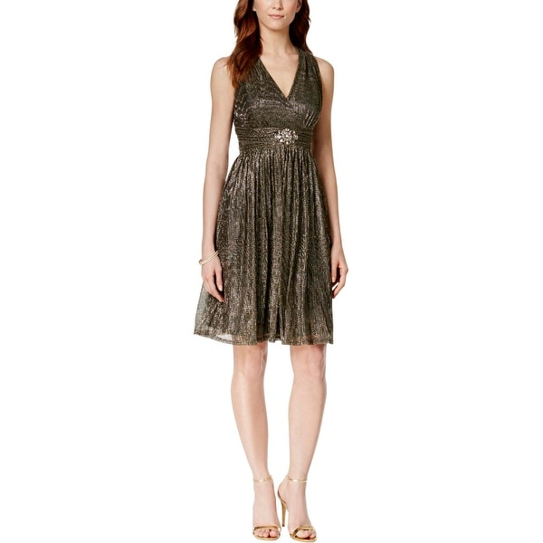 03f98060c3ef Shop Jessica Howard Womens Cocktail Dress Metallic Beaded - Free Shipping  On Orders Over $45 - Overstock - 18418062