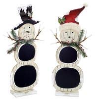 Pack of 4 Ivory and Black Chalkboard Decorative Snowman 23""