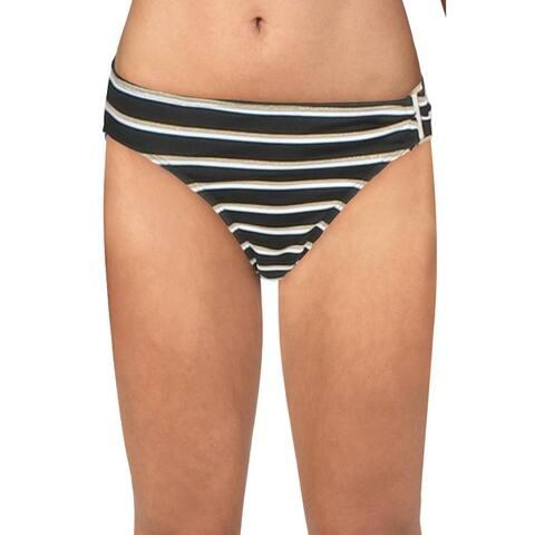Lauren Ralph Lauren Womens Striped Metallic Swim Bottom Separates - Black