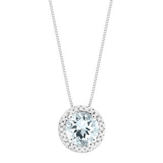 1 1/8 ct Natural Aquamarine Circle Pendant with Diamonds in 14K White Gold - Blue