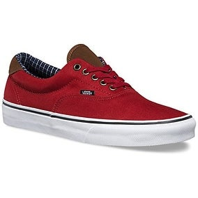 Vans Men's Era 59 (C&P) Skate Shoes (12.5 US Women/11 US Men, Red Dahlia/White)
