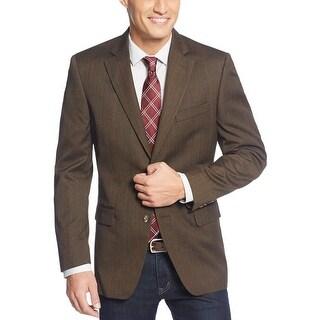 Tasso Elba Brown Herringbone Windowpane Sportcoat Blazer 42 Short 42S