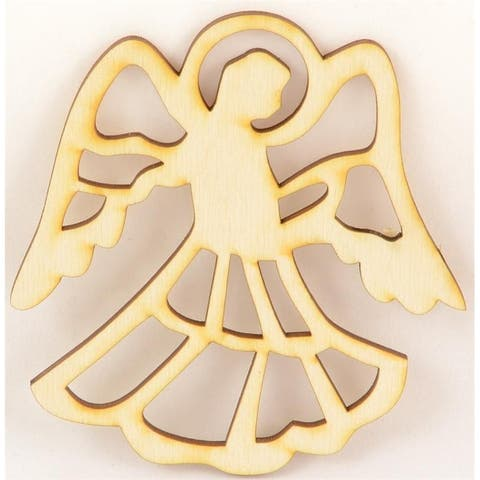 """Package Of 50, Angel #3 Wood Ornament 4 """" X 4.25 """" Easy To Paint Or Decorate"""