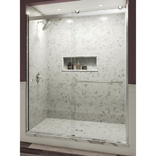 "Miseno MSDF5976-ROLL 76"" High x 59"" Wide Double Sliding Frameless Shower Door with Clear Glass"