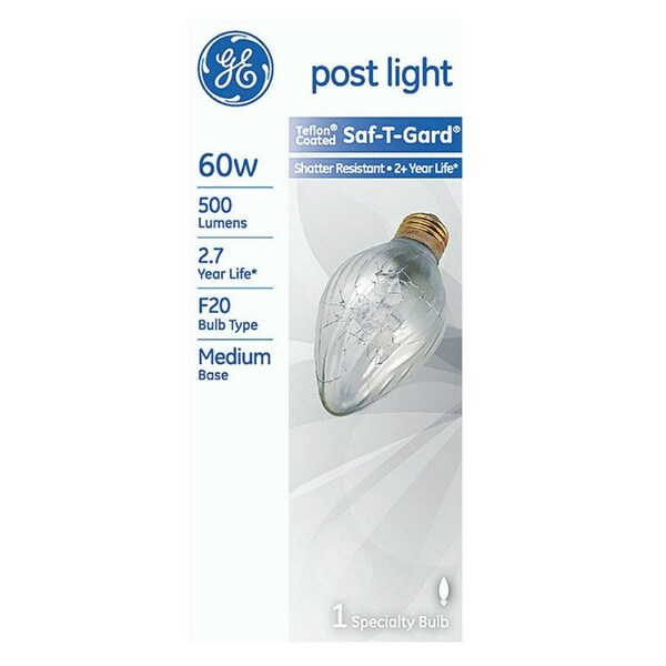 GE 14349 Saf-T-Gard Postlight Incandescent Bulb, 60 Watt