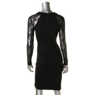 French Connection Womens Lace Inset Long Sleeve Cocktail Dress - 4