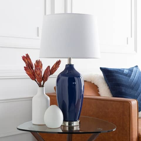 """Dominique 27 in. Navy Traditional Table Lamp - 27"""" H"""