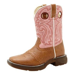 "Durango Western Boots Girls 8"" Lacey Cowboy Heel Stitch Tan Pink BT287